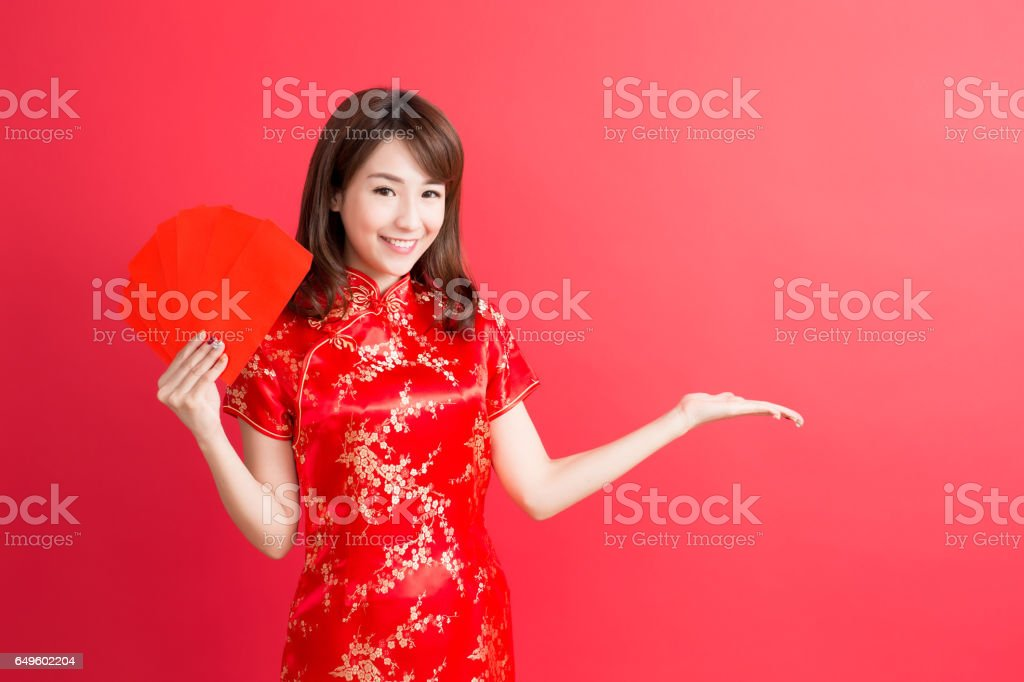 beauty woman show something stock photo