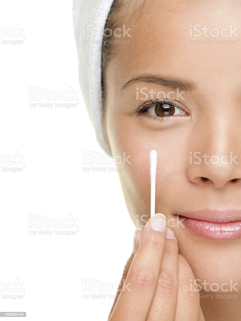 Beauty woman showing cotton swab stock photo