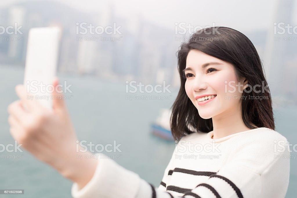 beauty woman smile and selfie Lizenzfreies stock-foto