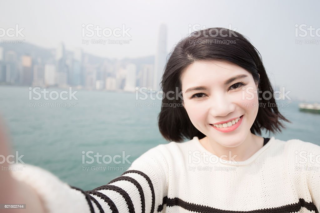 beauty woman smile and selfie foto stock royalty-free