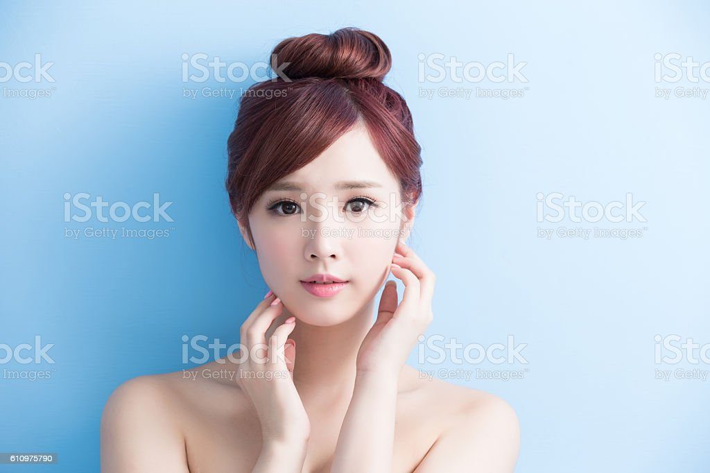 beauty woman smile to you stock photo
