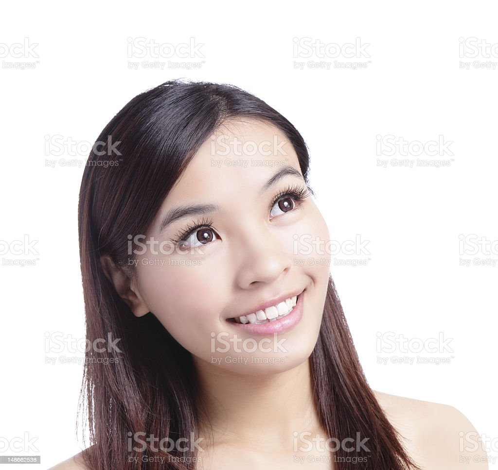Beauty woman smiling looking at copy space royalty-free stock photo