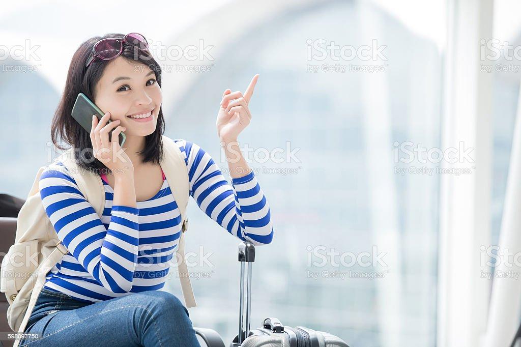 beauty woman talking phone happily stock photo