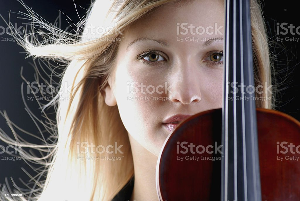 beauty woman violinist stock photo