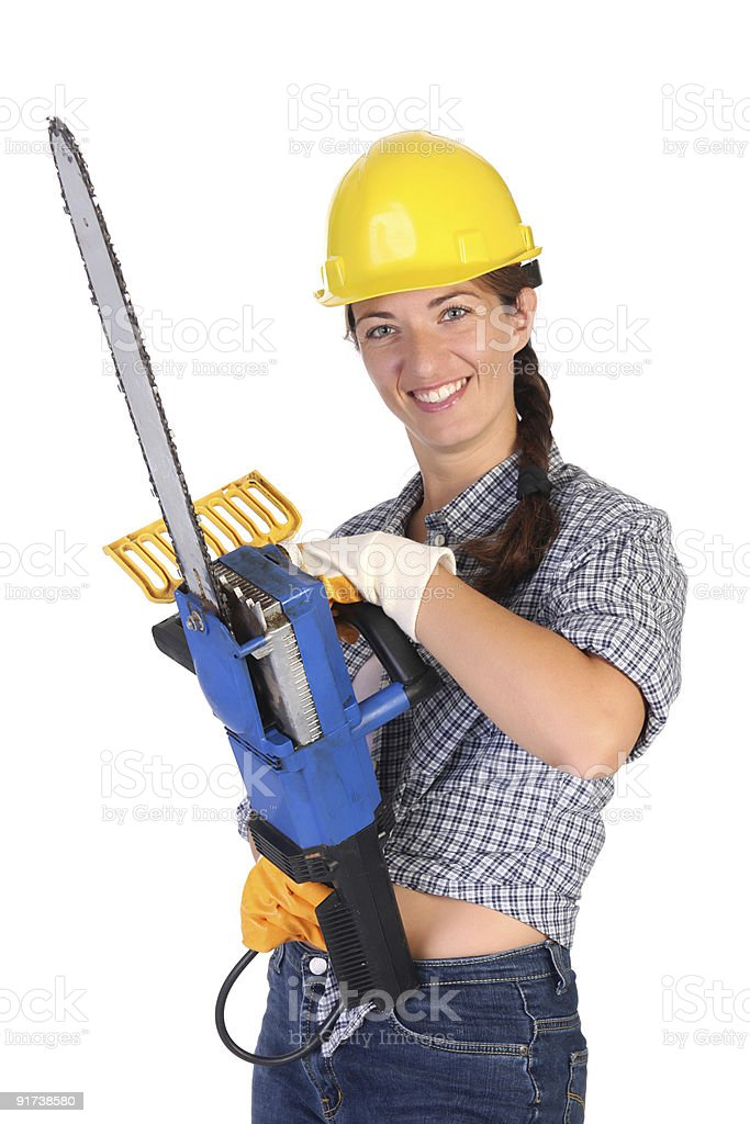 Beauty woman with chainsaw royalty-free stock photo