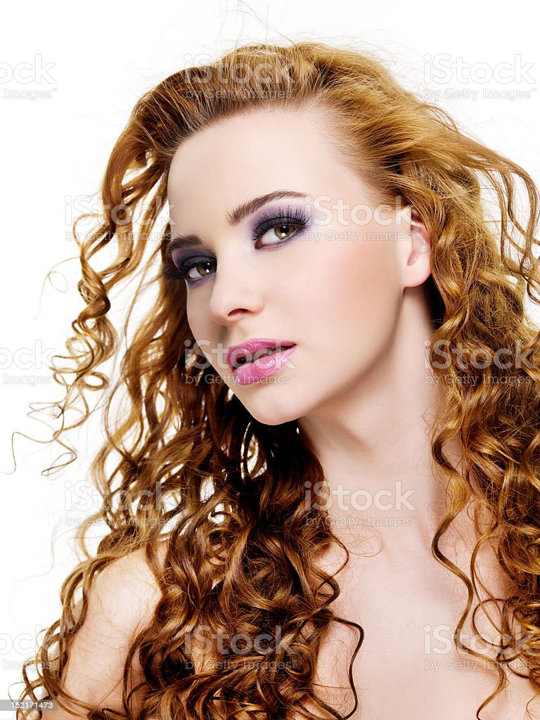 Beauty woman with fashion saturated make-up stock photo