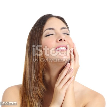istock Beauty woman with perfect skin and manicure and white smile 510467977