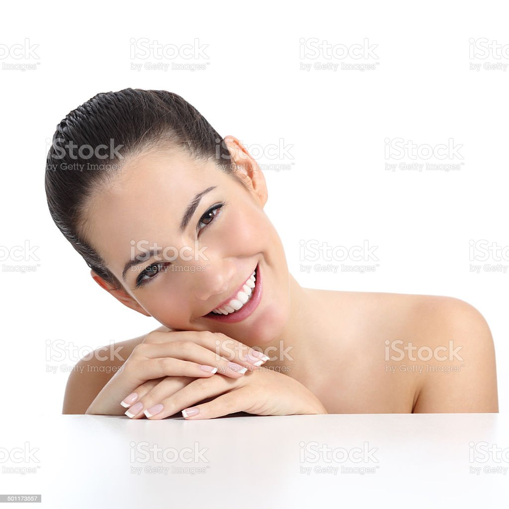 Beauty woman with perfect skin manicure and white smile stock photo