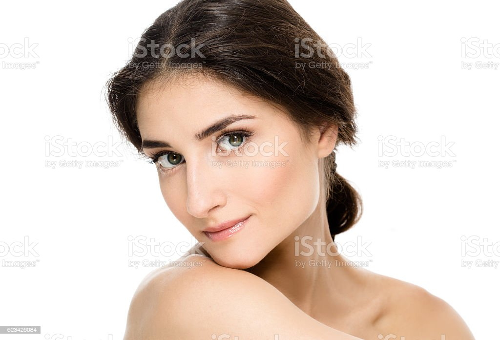 Beauty Woman with perfect skin Portrait. Empty space for text. stock photo