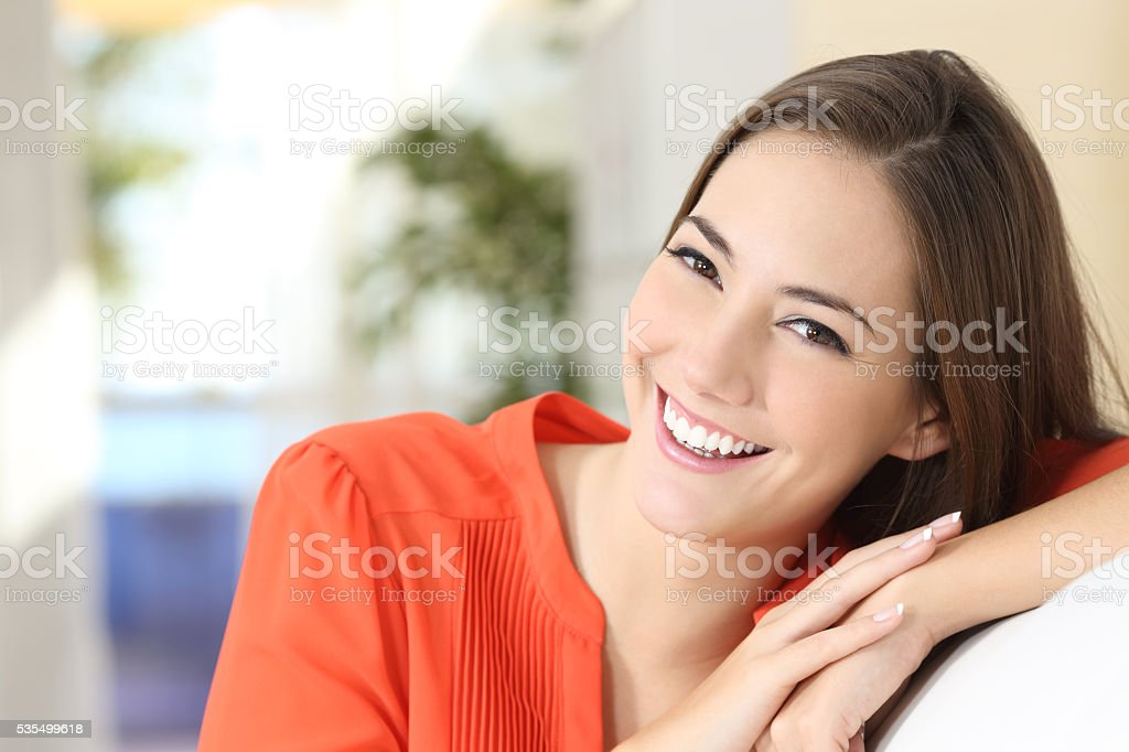 Beauty woman with perfect white teeth and smile stock photo