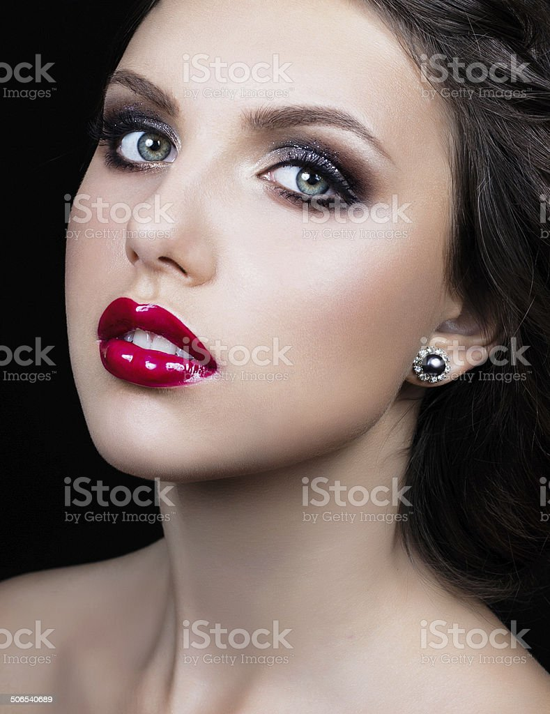 Beauty woman with red lips and professional make up royalty-free stock photo