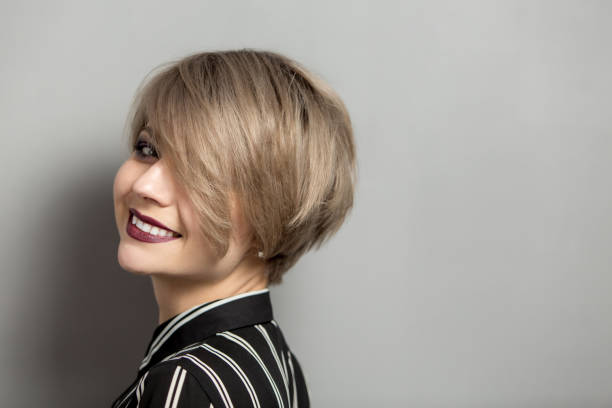 beauty woman with short hair - hairstyle stock photos and pictures