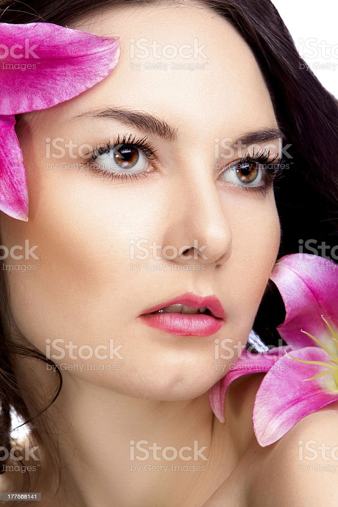 beauty woman with vibrant flower royalty-free stock photo
