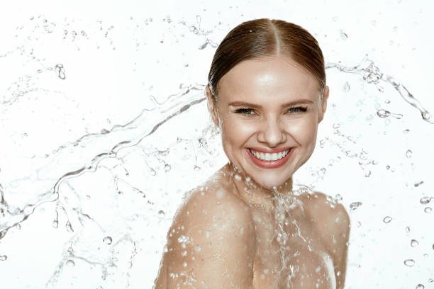 Beauty. Woman With Water On Face And Body. Spa Skin Care stock photo