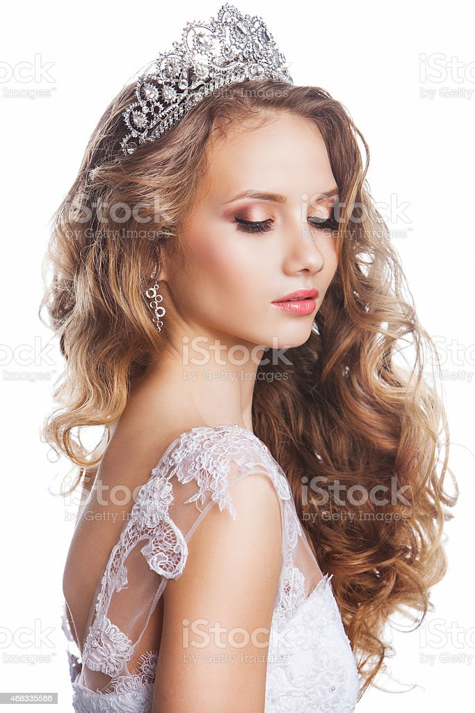 Beauty woman with wedding hairstyle and makeup stock photo