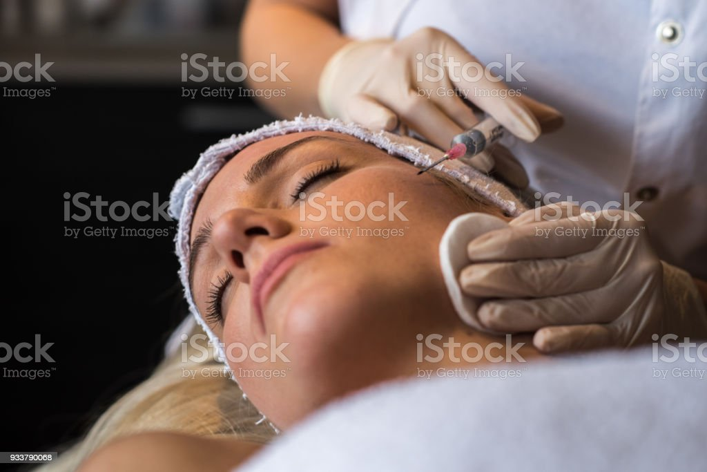 Beauty women having botox treatment stock photo