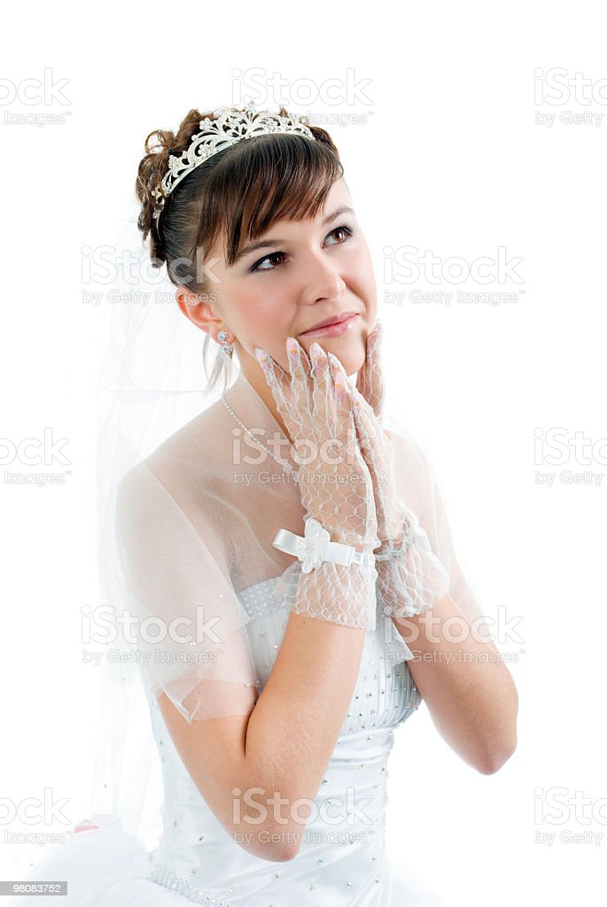 Beauty young bride dressed in elegance wedding dress royalty-free stock photo