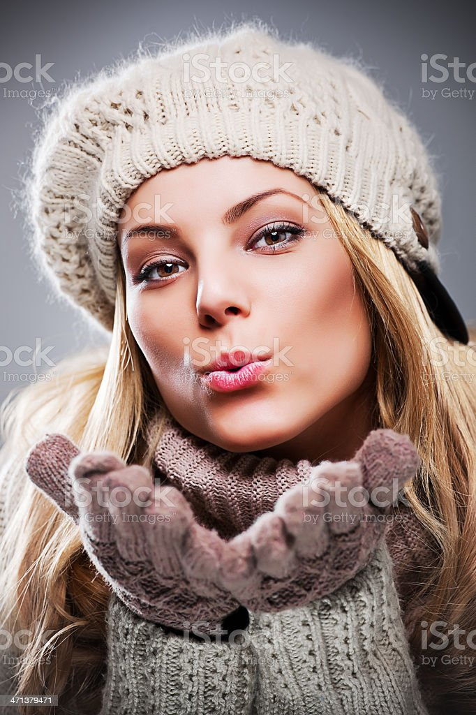 Beauty young woman in winter clothes. royalty-free stock photo