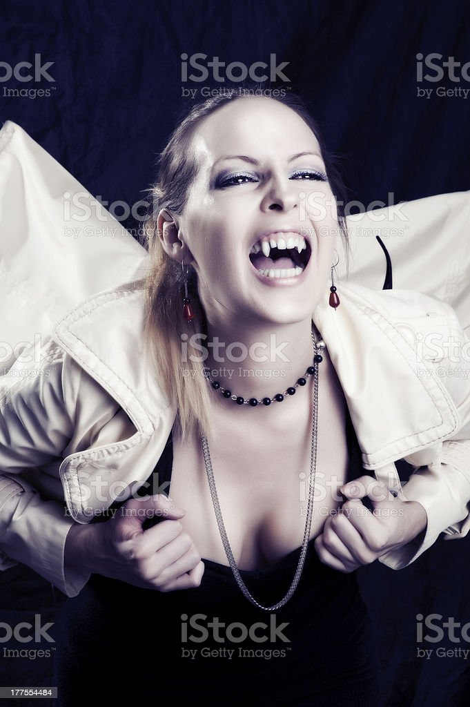 Beauty young woman screaming portrait stock photo