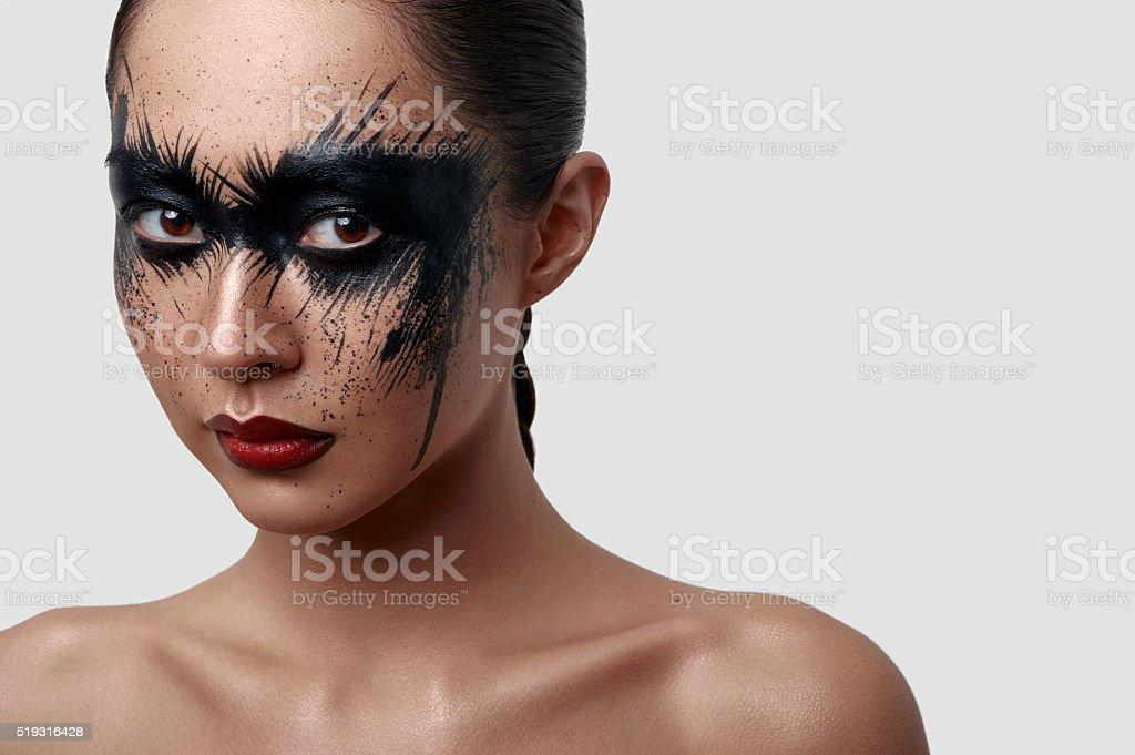 Schonheit Junge Frau Mit Halloween Kreativen Makeup Stockfoto Und