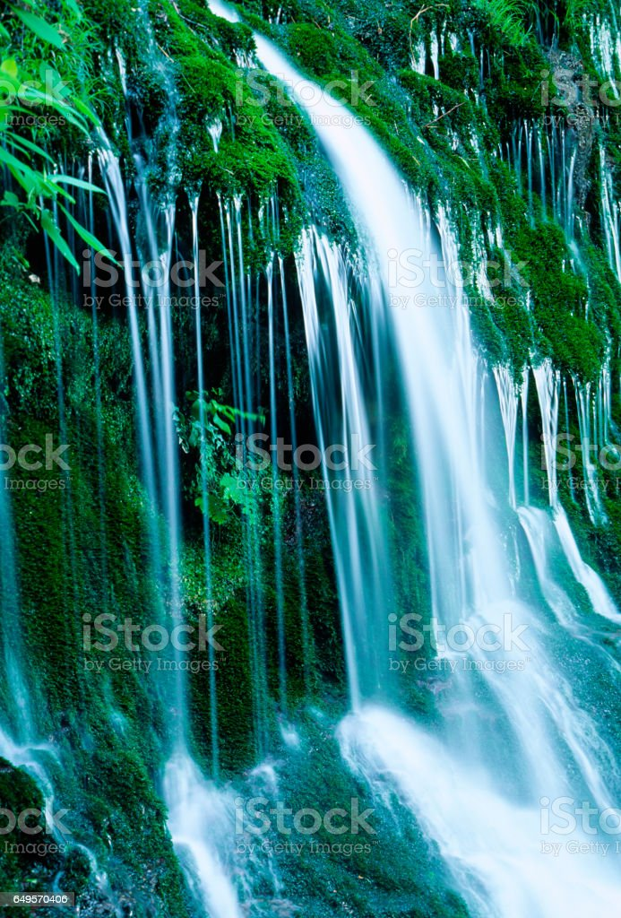 Beautyful Mossy Waterfalls in the Forest stock photo