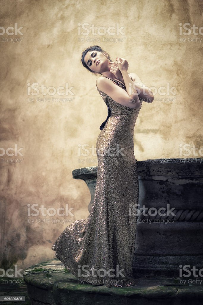 Beautyful/Elegant Woman at Fountain stock photo