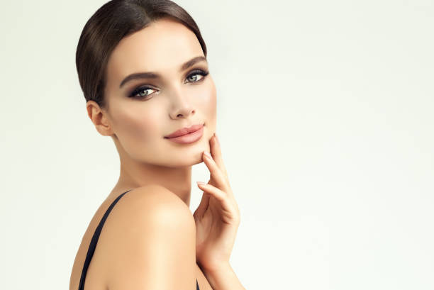 beauty-style portrait of appealing, young woman. makeup and beauty technologies. - beauty stock pictures, royalty-free photos & images