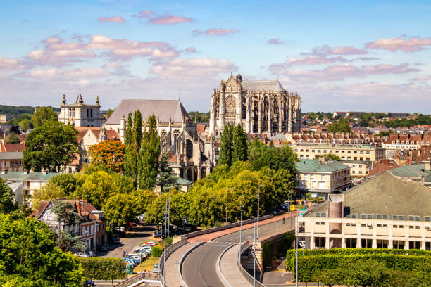 Beauvais. Panorama of the city centre. Oise Picardie Hauts-de-France Prise de vue au zoom 18/135, 200 iso, f 16, 1/160 seconde picardy stock pictures, royalty-free photos & images