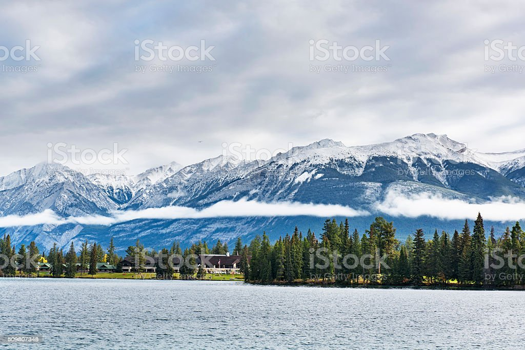 Beauvert Lake and Snow Mountains stock photo