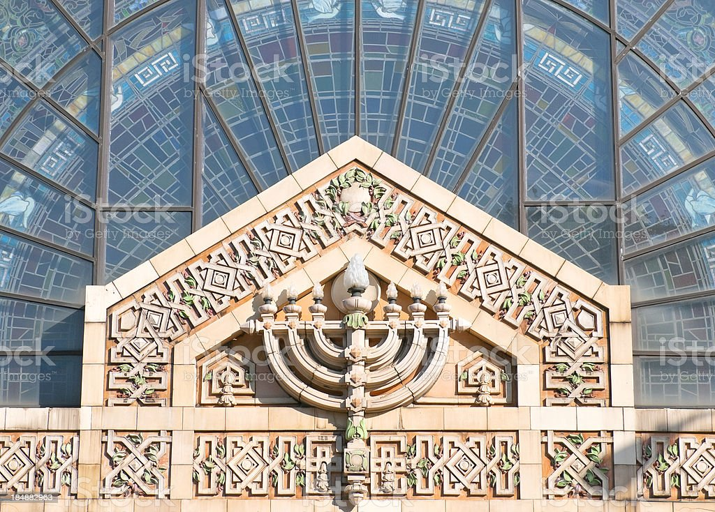 Beaux arts style entrance to historic Jewish Temple in Pittsburgh stock photo