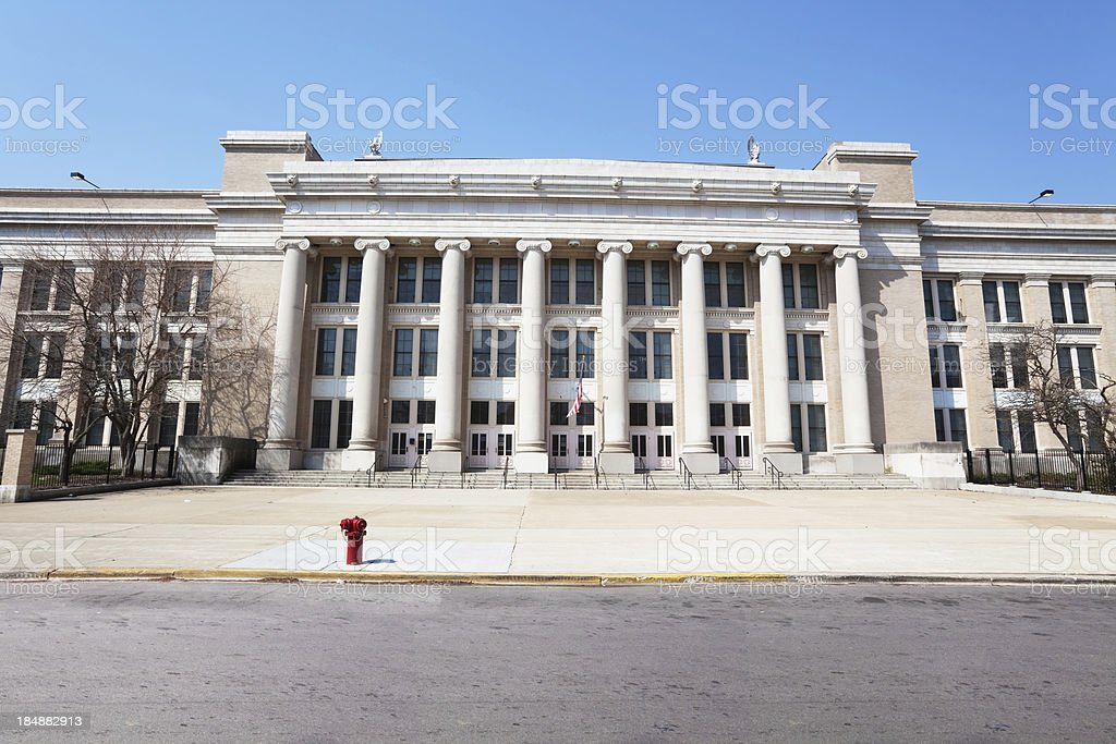 Beaux Arts Style School Architecture in West Englewood, Chicago royalty-free stock photo