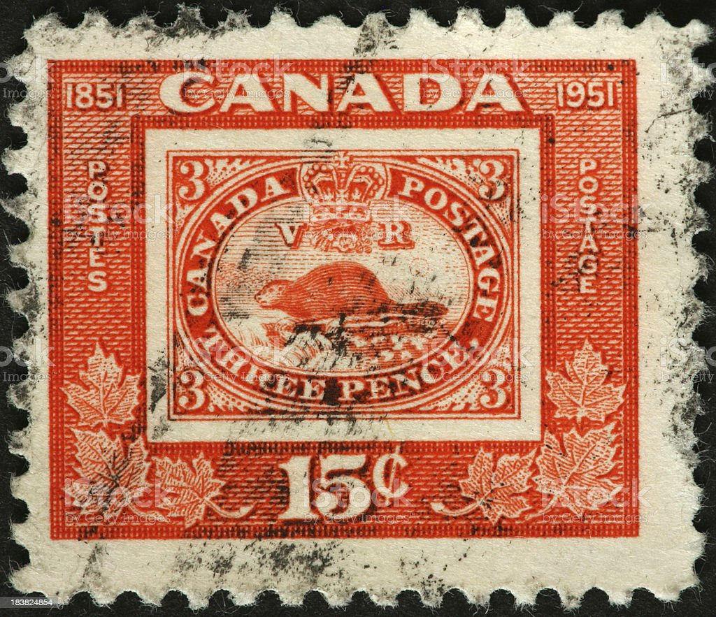 beaver and crown on an old Canadian postage stamp stock photo