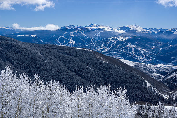 Beaver Creek Bachelor Gulch Arrowhead Ski Runs Beaver Creek Bachelor Gulch Arrowhead Ski Runs - Scenic landscape vista with incredible views of Sawatch Mountains and Beaver Creek, Bachelor Gulch and Arrowhead Ski resorts.  Vail Valley, Colorado USA. beaver creek colorado stock pictures, royalty-free photos & images
