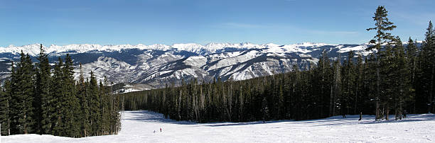 Beaver Creek Colorado Mountain Ski Slope Panoramic Beautiful ski slope and mountain panoramic view at the top of Beaver Creek Ski Resort in the Colorado Rocky Mountains beaver creek colorado stock pictures, royalty-free photos & images