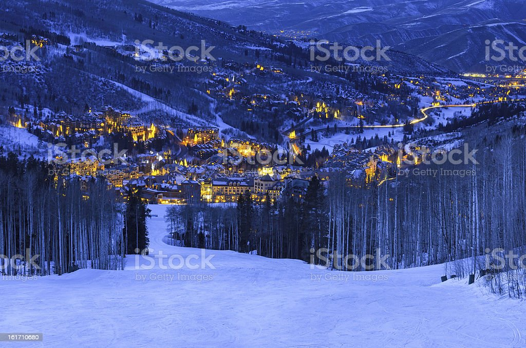 Beaver Creek Colorado Village at Dusk royalty-free stock photo