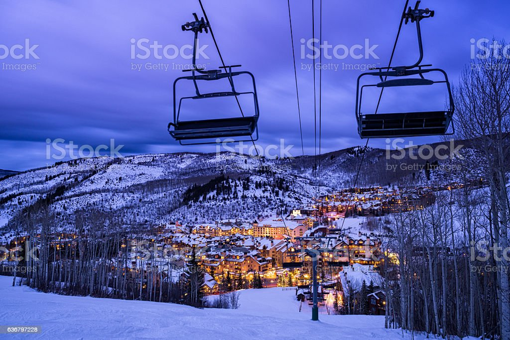 Beaver Creek Colorado Village at Dusk Beaver Creek Colorado Village at Dusk - View from above looking into Beaver Creek Village with ski slopes. Arts Culture and Entertainment Stock Photo