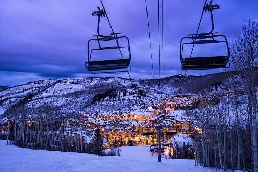 Beaver Creek Colorado Village At Dusk Stock Photo - Download Image Now