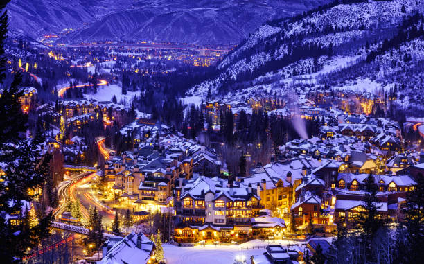 Beaver Creek Colorado Village at Night Beaver Creek Colorado Village at Night - Dusk view at twilight of village lights and town at night in winter looking down from ski slopes. beaver creek colorado stock pictures, royalty-free photos & images