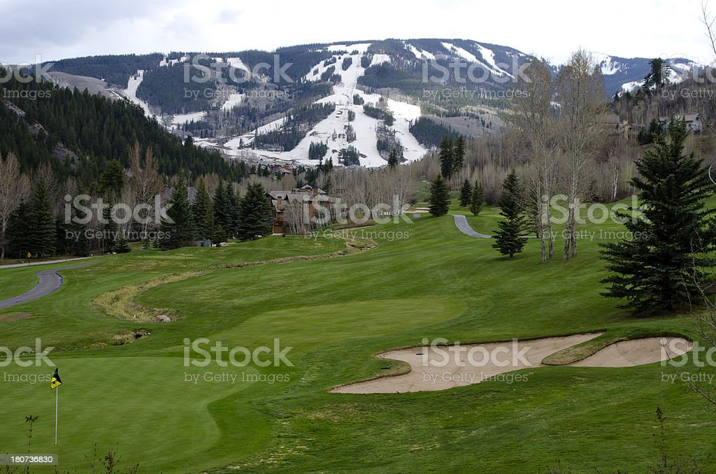Beaver Creek Golf Course and Ski Slopes royalty-free stock photo