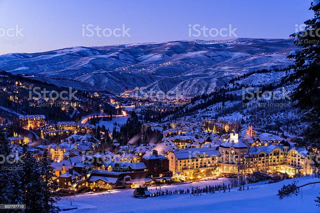 Beaver Creek Resort Winter Skiing at Dusk stock photo