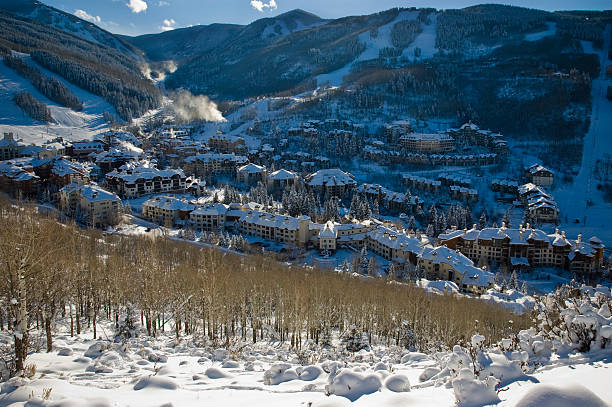 Beaver Creek Ski Village Colorado Beaver Creek Village Ski Resort in winter with copy-space. beaver creek colorado stock pictures, royalty-free photos & images