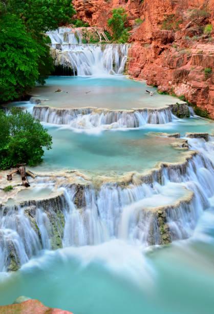 Beaver Falls, Supai Village in the Havasupai area in the Grand Canyon, Arizona USA stock photo
