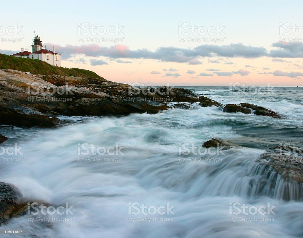 Beavertail lighthouse at sunset - Jamestown, RI stock photo