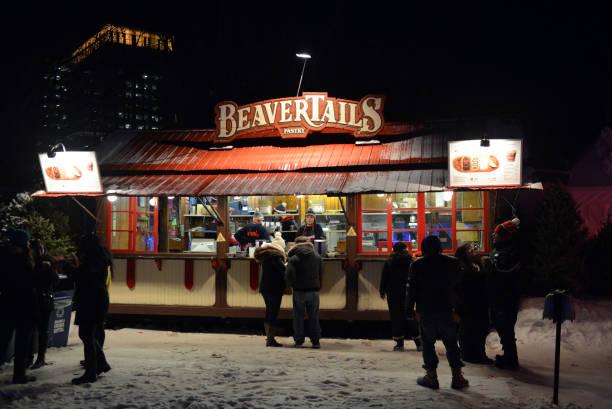 BeaverTails kiosk in Ottawa Winterlude at night stock photo