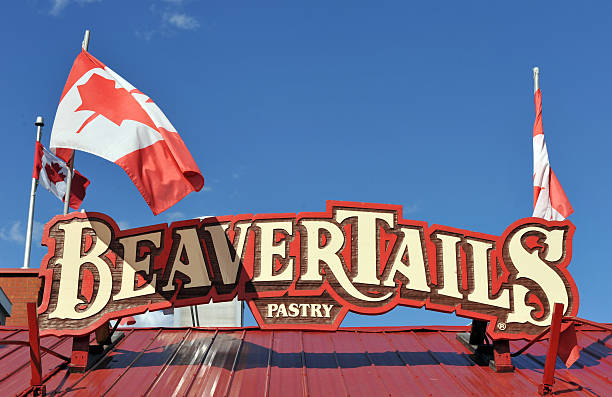 BeaverTails store with Canadian Flags stock photo