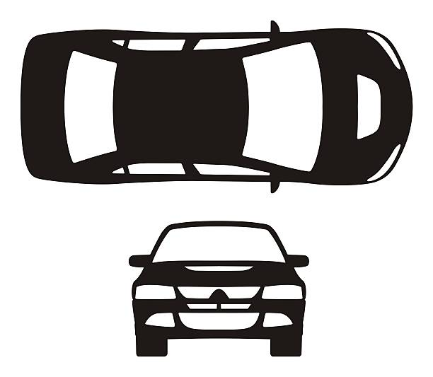 car silhouette - transportation icons stock photos and pictures
