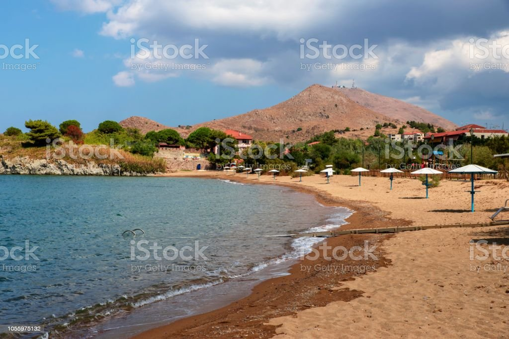 Bech in Myrina, Limnos. stock photo
