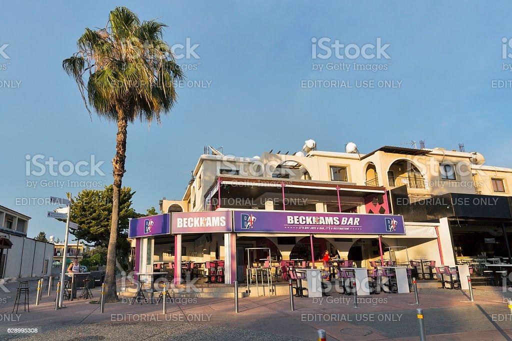 Beckhams bar facade in Paphos, Cyprus stock photo