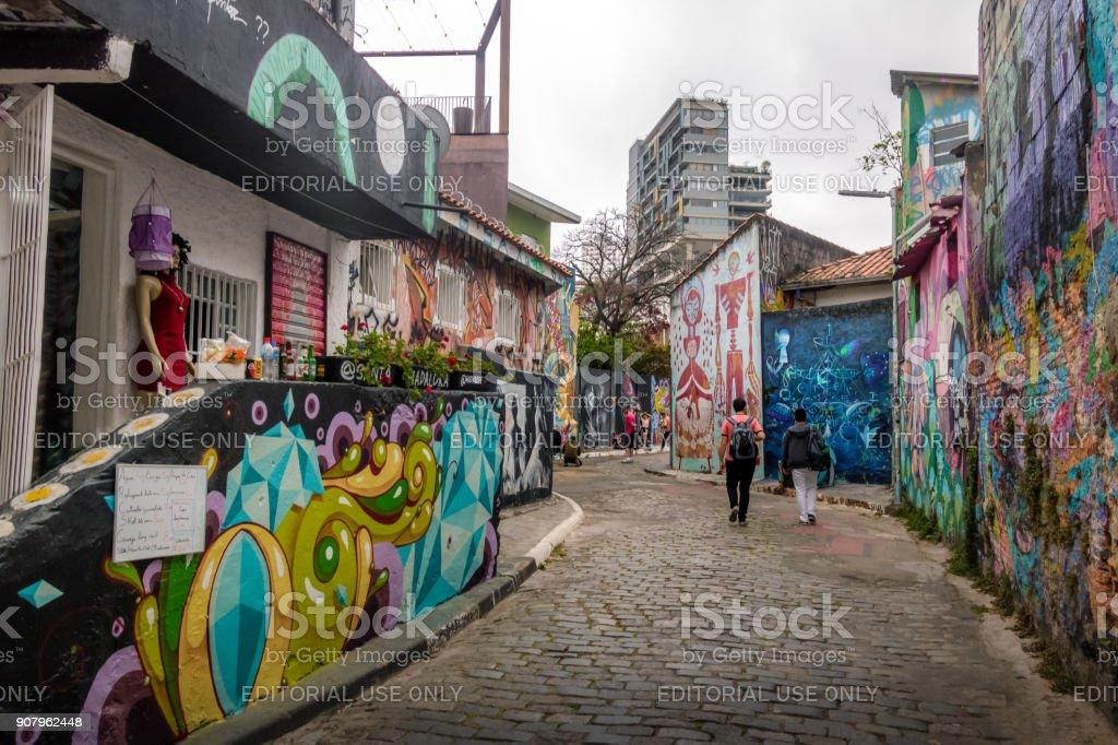 Beco do Batman (Batman Alley) in Vila Madalena - Sao Paulo, Brazil - foto stock