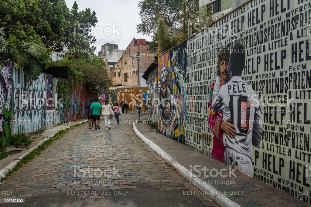Beco do Batman (Batman Alley) in Vila Madalena - Sao Paulo, Brazil stock photo